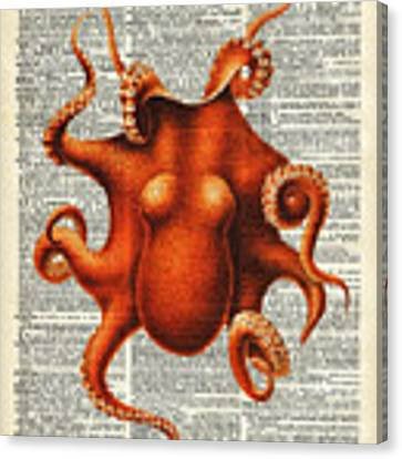 Octopus Vintage Illustration On A Book Page Canvas Print by Anna W