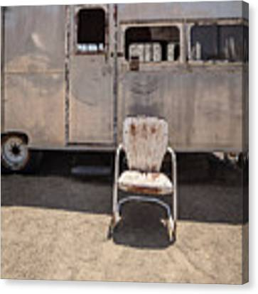 Old 1930 Silver Camping Trailer Canvas Print by Edward Fielding