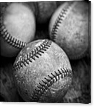 Old Baseballs In Black And White Canvas Print by Edward Fielding