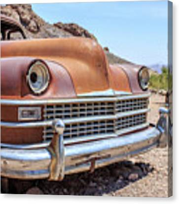 Old Cars In The Desert, Eldorado Canyon, Nevada Canvas Print by Edward Fielding