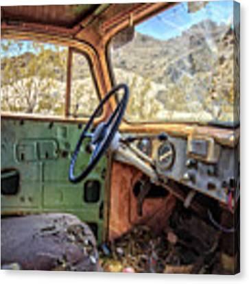 Old Truck Interior Nevada Desert Canvas Print by Edward Fielding