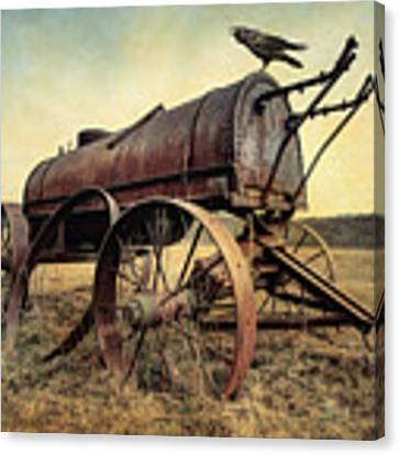 On The Water Wagon - Agricultural Relic Canvas Print by Gary Heller