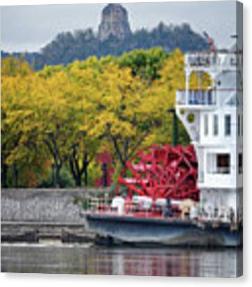 Paddlewheeler At Winona Mn Mississippi River Canvas Print by Kari Yearous