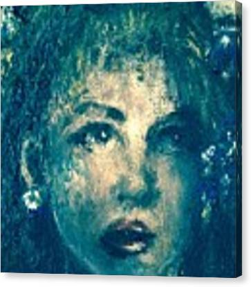Portrait In Blue Canvas Print by Laurie Lundquist