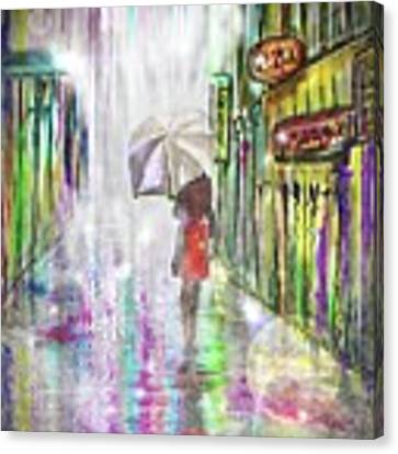Rainy Paris Day Canvas Print by Darren Cannell