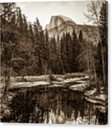 Reflecting Yosemite Half Dome Skies - Sepia Edition Canvas Print by Gregory Ballos