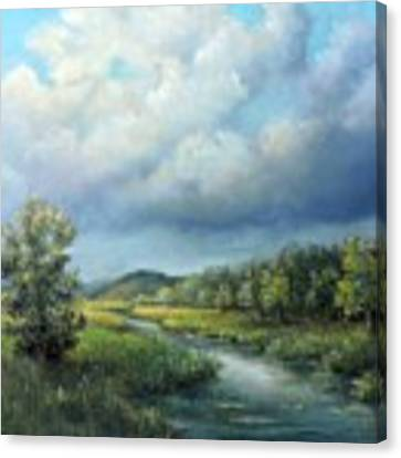 River Landscape Spring After The Rain Canvas Print by Katalin Luczay
