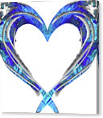 Romantic Heart Art - Big Blue Love - Sharon Cummings Canvas Print by Sharon Cummings