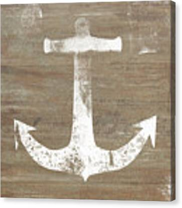 Rustic White Anchor- Art By Linda Woods Canvas Print