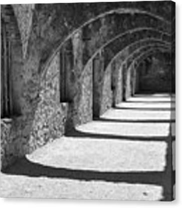 San Antonio Mission San Jose - Black And White Canvas Print by Gregory Ballos