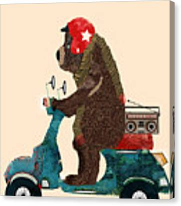 Scooter Bear Canvas Print by Bri Buckley