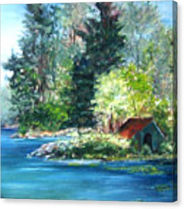 Secluded Boathouse-millsite Lake  Canvas Print by Jan Byington