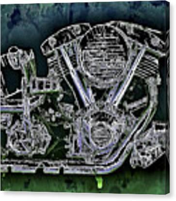 Harley - Davidson Shovelhead Engine Canvas Print by Al Matra