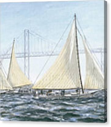 Skipjacks Racing Chesapeake Bay Maryland Detail Canvas Print by G Linsenmayer