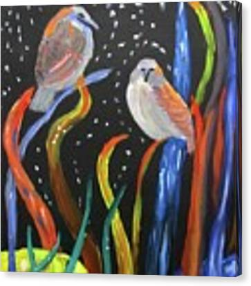 Sparrows Inspired By Chihuly Canvas Print by Linda Feinberg
