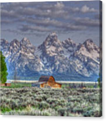 Spring Teton Barn  Canvas Print by David Armstrong