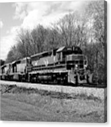 Sprintime Train In Black And White Canvas Print by Rick Morgan