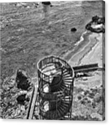 Stairs To Nowhere Pismo Beach Black And White Canvas Print by Priya Ghose