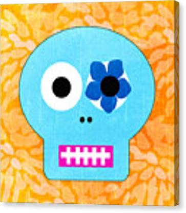 Sugar Skull Blue And Orange Canvas Print by Linda Woods