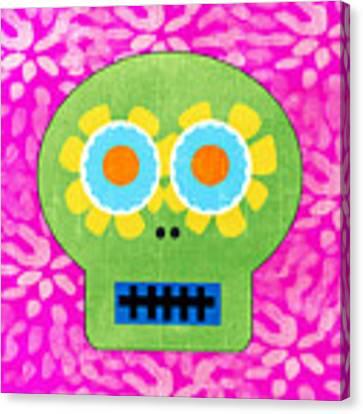 Sugar Skull Green And Pink Canvas Print by Linda Woods
