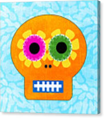 Sugar Skull Orange And Blue Canvas Print by Linda Woods