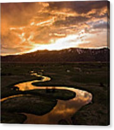 Sunrise Over Winding River Canvas Print by Wesley Aston
