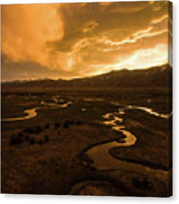 Sunrise Over Winding Rivers Canvas Print by Wesley Aston