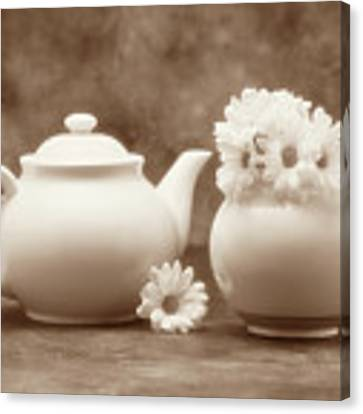 Teapot With Daisies II Canvas Print
