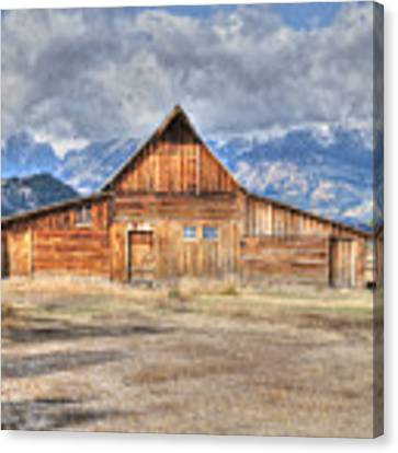 Teton Barn Front View Canvas Print by David Armstrong
