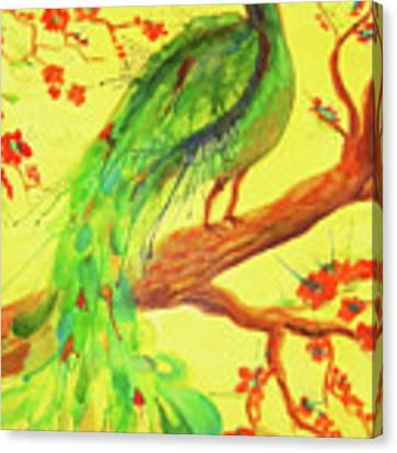 The Auspicious Peacock Canvas Print by Angelique Bowman