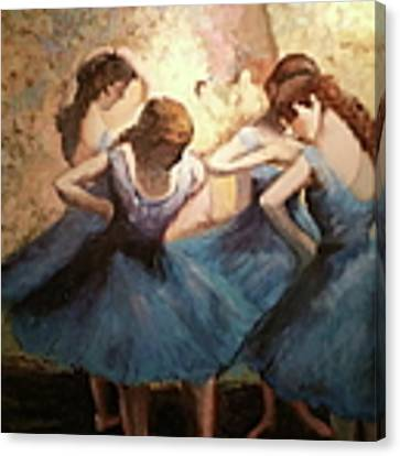 The Blue Ballerinas - A Edgar Degas Artwork Adaptation Canvas Print by Rosario Piazza