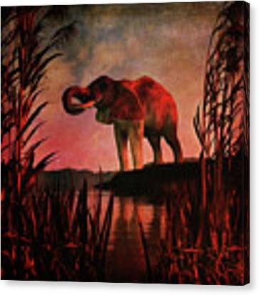 The Drinking Elephant Canvas Print by Jan Keteleer