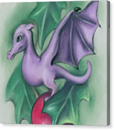 Tiny Dragon On A Holly Berry Canvas Print by MM Anderson