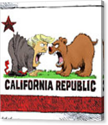 Trump And California Face Off Canvas Print by Daryl Cagle