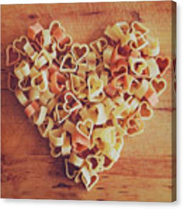 Uncooked Heart-shaped Pasta Canvas Print
