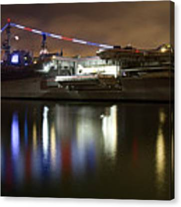 Uss Midway At Night Canvas Print by Nathan Rupert