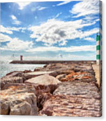 view at Atlantic ocean from breakwater Canvas Print by Ariadna De Raadt