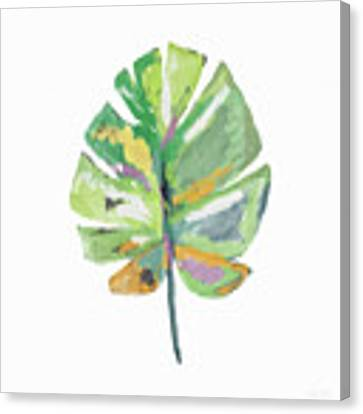 Watercolor Palm Leaf- Art By Linda Woods Canvas Print by Linda Woods