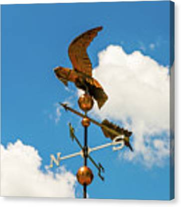 Weather Vane On Blue Sky Canvas Print by D K Wall