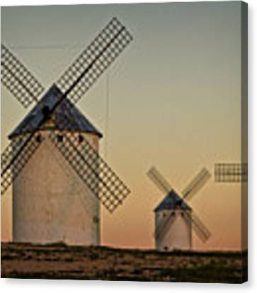 Windmills In Golden Light Canvas Print by Heiko Koehrer-Wagner