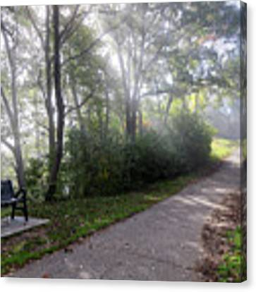Winona Minnesota Foggy Path With Bench Photograph Canvas Print by Kari Yearous