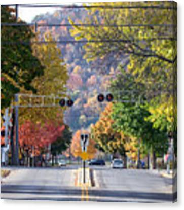 Winona Mn Photo Railroad Crossing In Fall Canvas Print by Kari Yearous