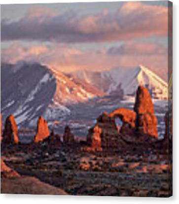Winter In Arches Np Canvas Print by Wesley Aston