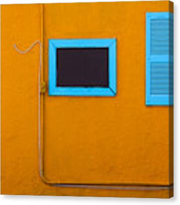 Yellow Wall, Blue Trim Canvas Print by Dart and Suze Humeston