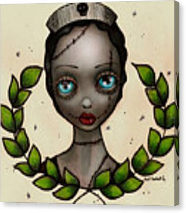 Zombie Nurse Canvas Print by Abril Andrade Griffith