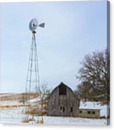 Barn And Windmill Canvas Print by Edward Peterson
