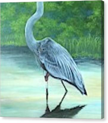 Blue Heron Canvas Print by Jeanette Jarmon