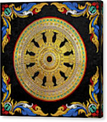 Ancient 12-spoked Gold Dharmachakra - The Wheel Of Dharma Canvas Print by Serge Averbukh