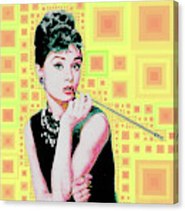 Audrey Hepburn Breakfast At Tiffanys In Mca Mid Century Abstract Squares 20190219 P41 Canvas Print by Wingsdomain Art and Photography