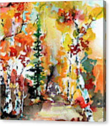 Autumn Forest Symphony Watercolors Canvas Print by Ginette Callaway